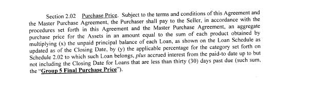 FDIC OneWest Bank Loan Sale Agreement Section 2.02 purchase price